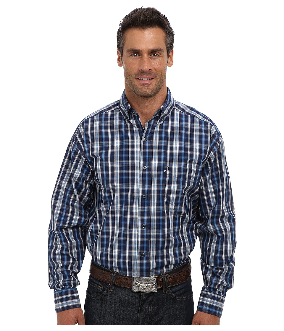 Tuf Cooper by Panhandle - L/S Button Down Shirt (Blue) Men's Long Sleeve Button Up