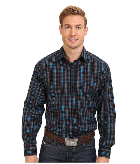 Tuf Cooper by Panhandle - L/S Button Down Plaid Shirt (Turquoise) Men's Long Sleeve Button Up