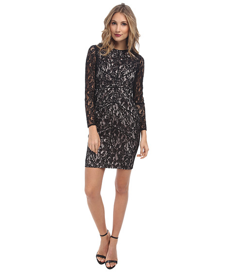 Vince Camuto - Long Sleeve Lace Dress w/ Panels Nude Lining (Black) Women
