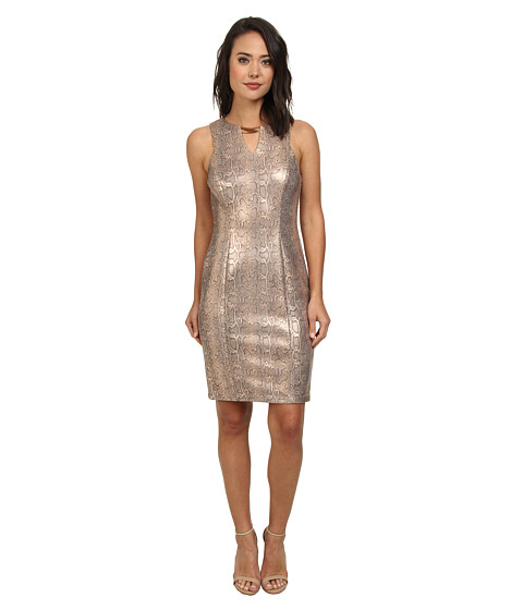Vince Camuto - Sleeveless Reptile Printed Bodycon Dress w/ Cutaway Armhole Neck Hardware (Gold) Women