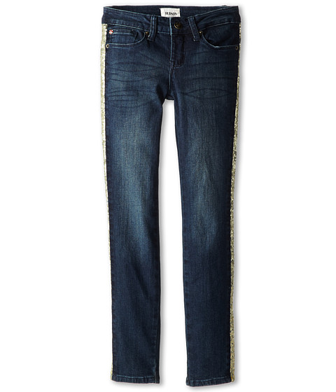 Hudson Kids - Stardust Five-Pocket Skinny with Glitter Side Detail in Charged Blue (Big Kids) (Charged Blue) Girl