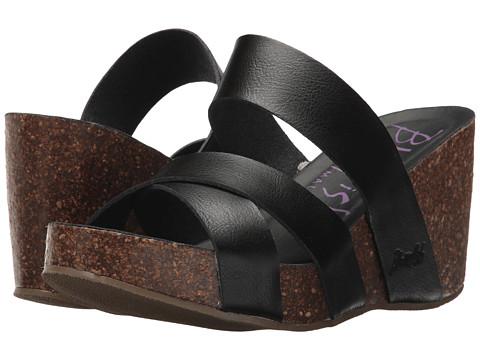 Blowfish - Hiro (Black Dyecut PU) Women's Wedge Shoes