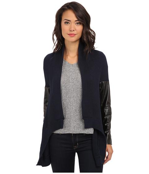 Aryn K - L/S Cardi w/ Leather Trim (Navy) Women's Sweater
