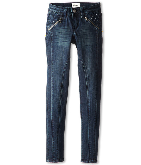 Hudson Kids - Starman Five-Pocket Skinny Jean with Zipper Pocket and Seam Details Down The Front in Blue (Big Kids) (Blue) Girl