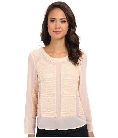 Aryn K - L/S Mixed Media Top (Pink) Women