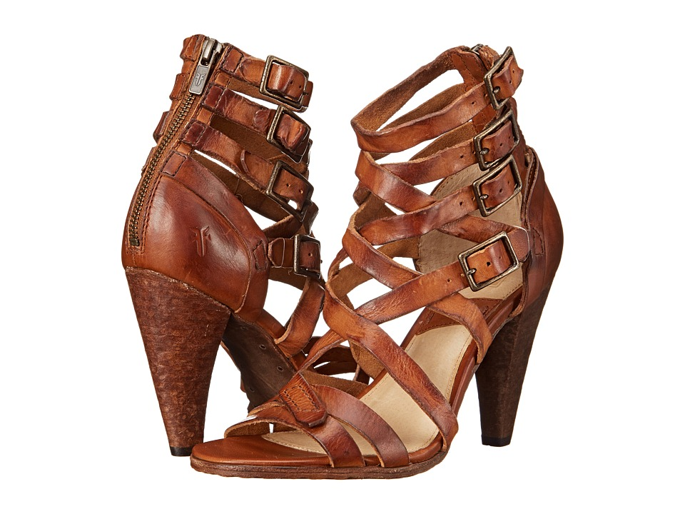 Frye - Mika Strappy Heel (Brown Washed Smooth Vintage) High Heels