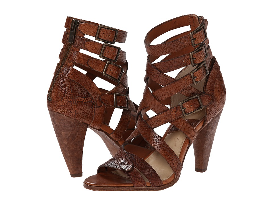 Frye - Mika Strappy Heel (Cognac Embossed Leather) High Heels