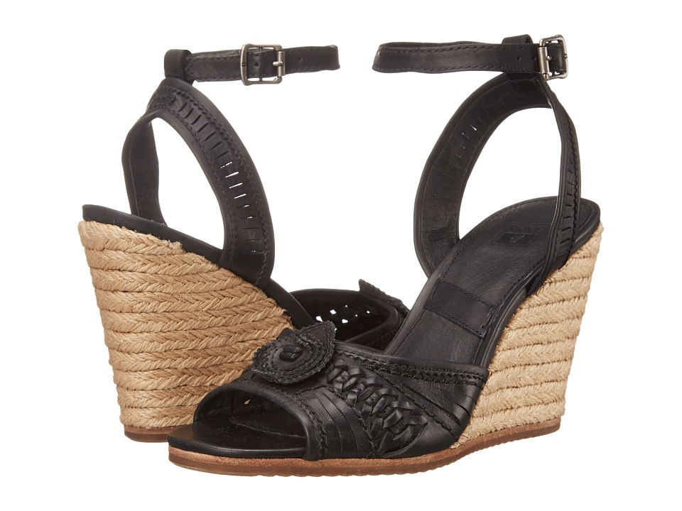 Frye - Patricia Concho Wedge (Black Smooth Vintage Leather) Women