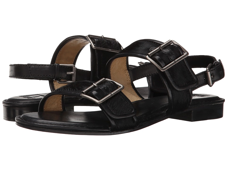 Frye - Phillip Buckles (Black Haircalf) Women's Sandals