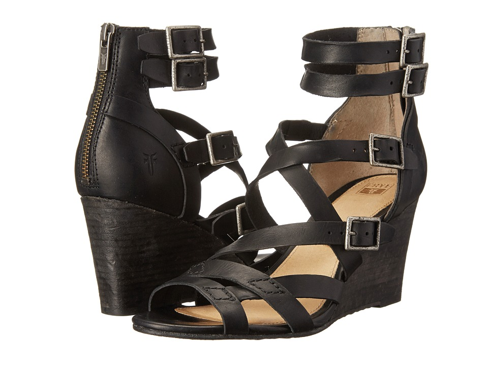 Frye - Rain Strappy Wedge (Black Washed Smooth Vintage) Women's Wedge Shoes