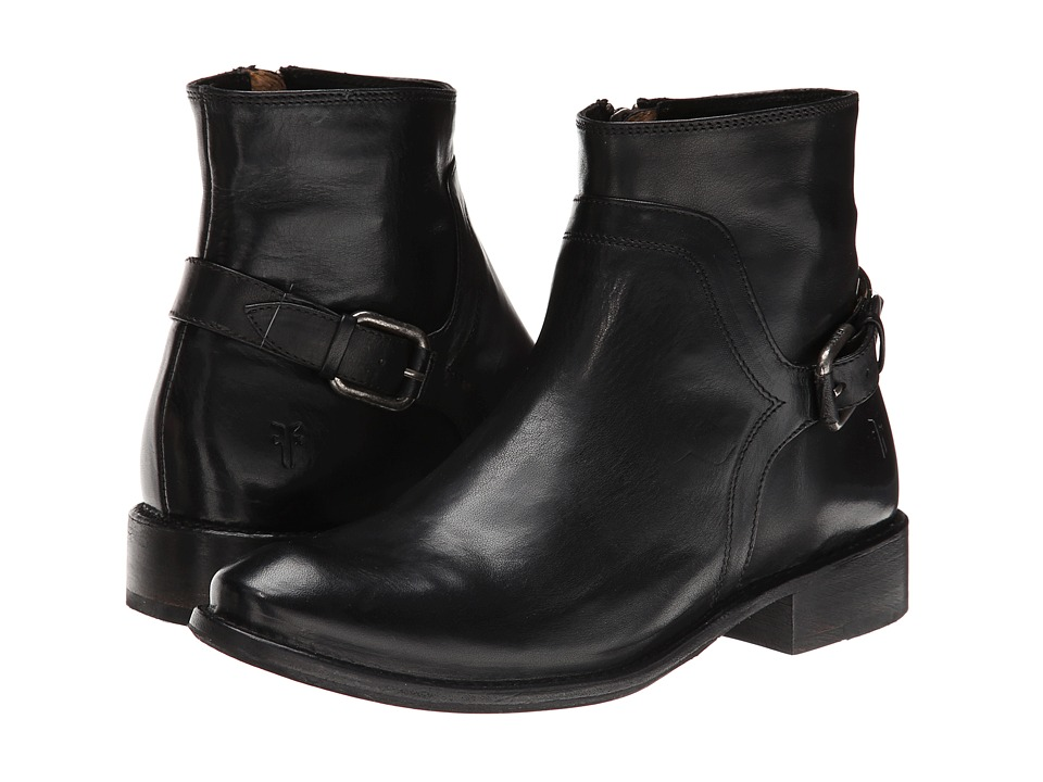 Frye - Shirley Shield Short (Black Smooth Vintage Leather) Cowboy Boots