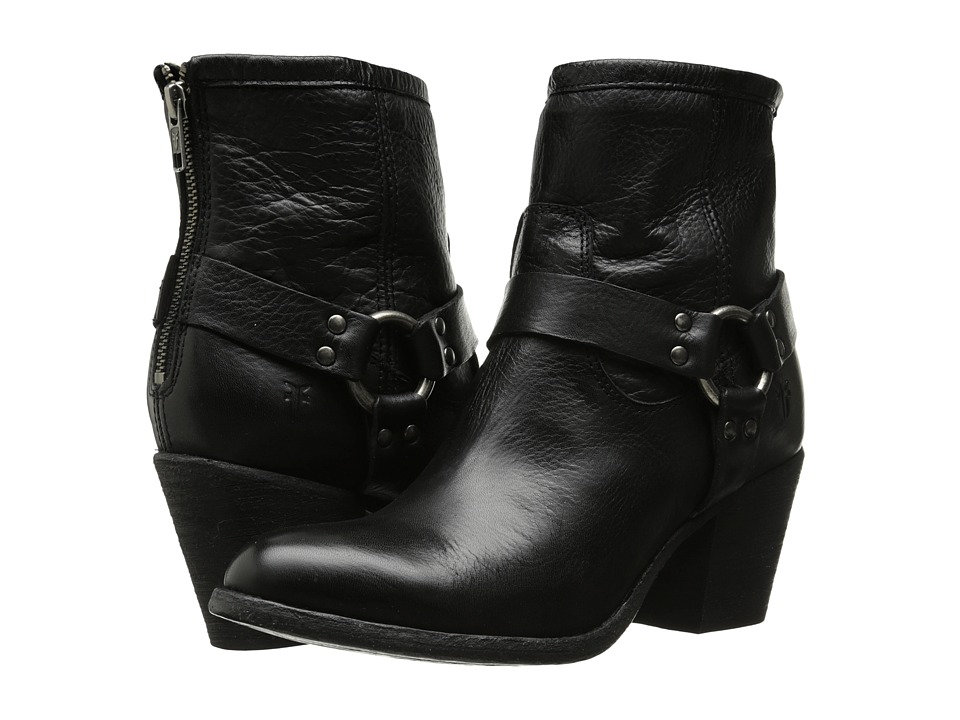 Frye - Tabitha Harness Short (Black Soft Vintage Leather) Cowboy Boots