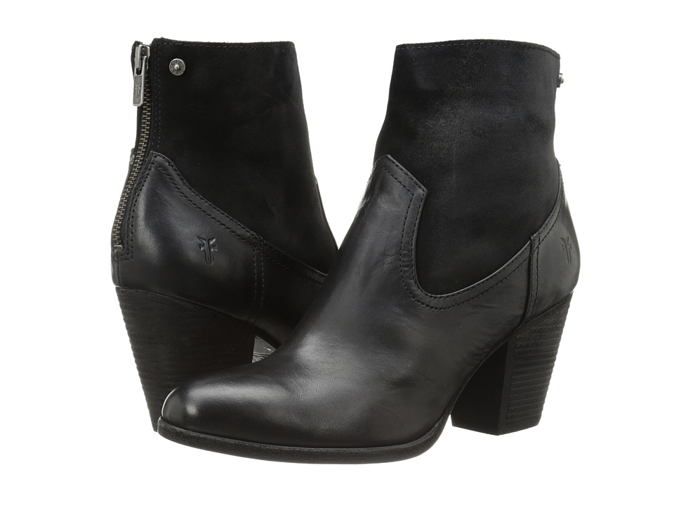 Frye - Tessa Zip Short (Black Smooth Vintage Leather/Oiled Suede) Cowboy Boots