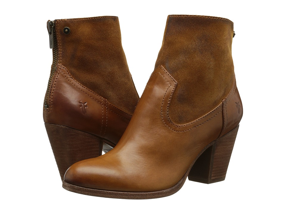 Frye Tessa Zip Short (Brown Smooth Vintage Leather/Oiled Suede) Cowboy Boots