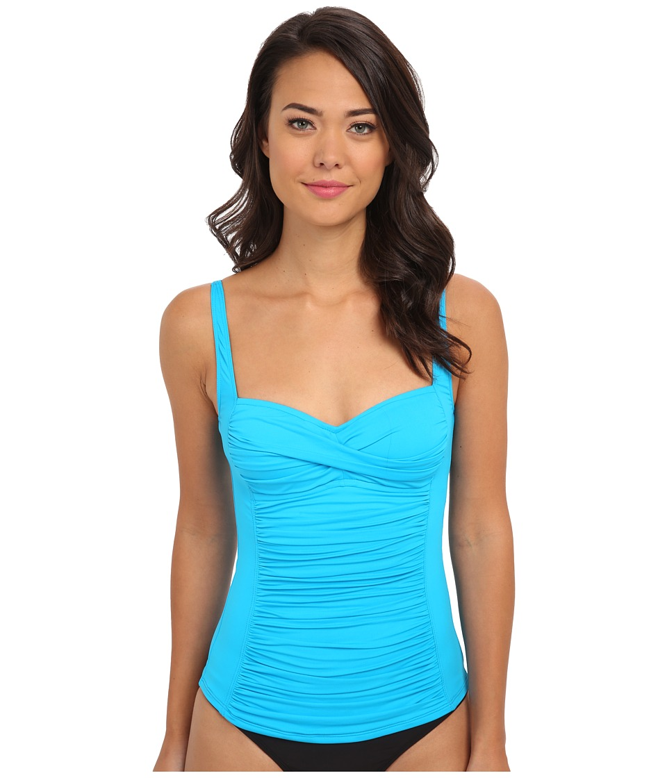 La Blanca - Core Solid OTS Sweetheart Tankini w/ Foam Cups Adjustable Straps (Turquoise) Women's Swimwear