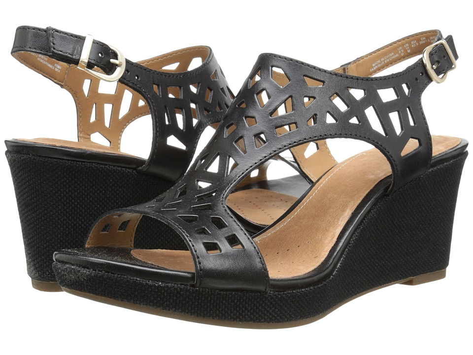 Clarks - Palmdale Sands (Black Leather) Women's Shoes