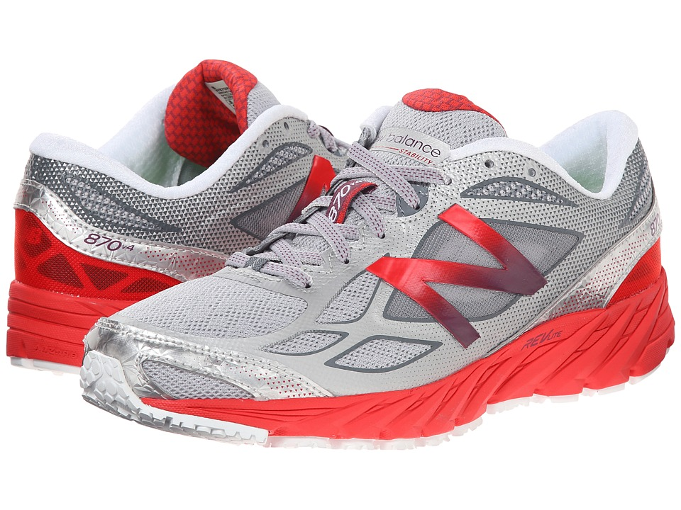 New Balance - W870v4 (White/Red) Women's Running Shoes