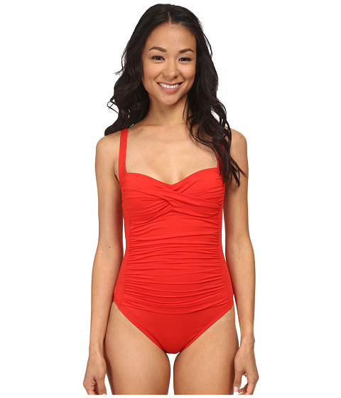 La Blanca - Core Solid OTS One Piece w/ Foam Cups Adjustable Straps (Red) Women's Swimsuits One Piece