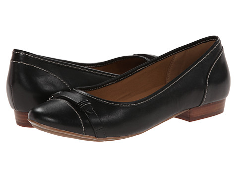 Clarks - Lockney Bird (Black Leather) Women's Flat Shoes
