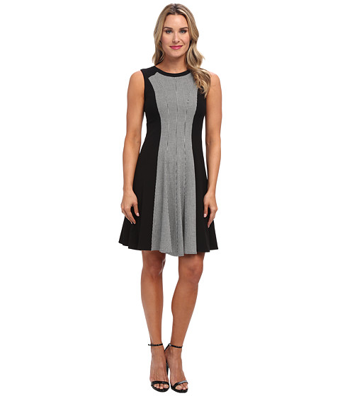 Calvin Klein - Mini Houndstooth Print Fit and Flare Dress (Black/Eggshell) Women