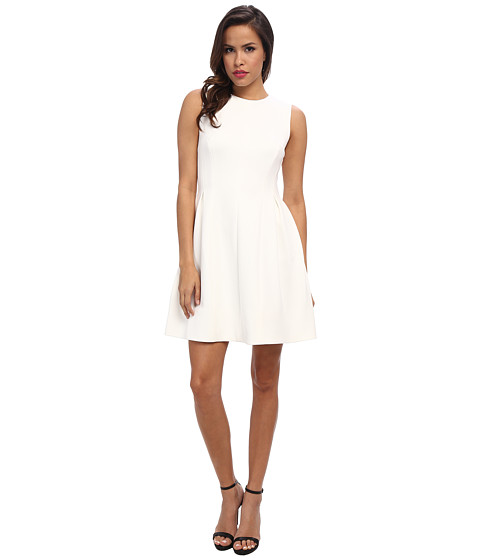 Calvin Klein - Full Skirt Scuba Dress (Cream) Women's Dress