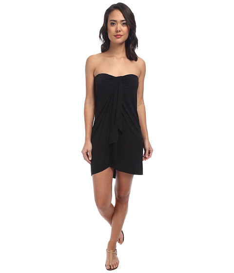 LAUREN by Ralph Lauren - Draped Solid Wrap Strapless Dress w/ Molded Cup Cover-Up (Black) Women