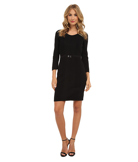 Calvin Klein - L/S Belt Buckle Sweater Dress (Black) Women