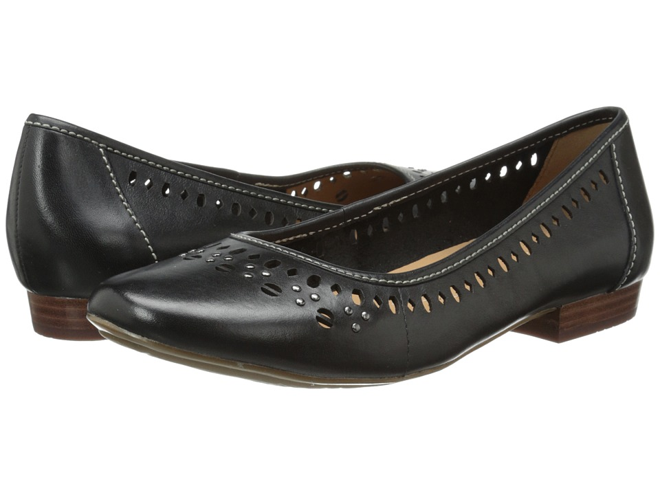 Clarks - Lockney Hot (Black Leather) Women's Flat Shoes