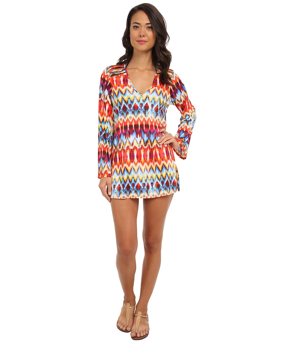 La Blanca - Serengeti L/S V-Neck Tunic Cover-Up (Multi) Women's Swimwear