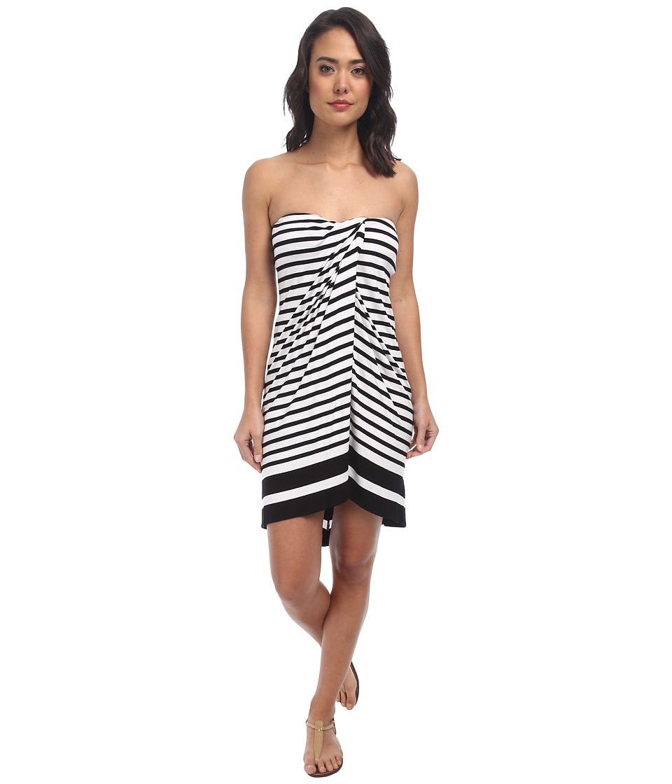 LAUREN by Ralph Lauren - Draped Stripe Wrap Strapless Dress w/ Molded Cup Cover-Up (Black/White) Women's Swimwear