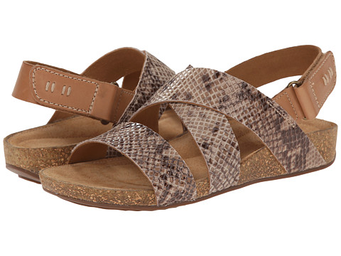 Clarks - Perri Dunes (Taupe Snake Suede) Women's Sandals