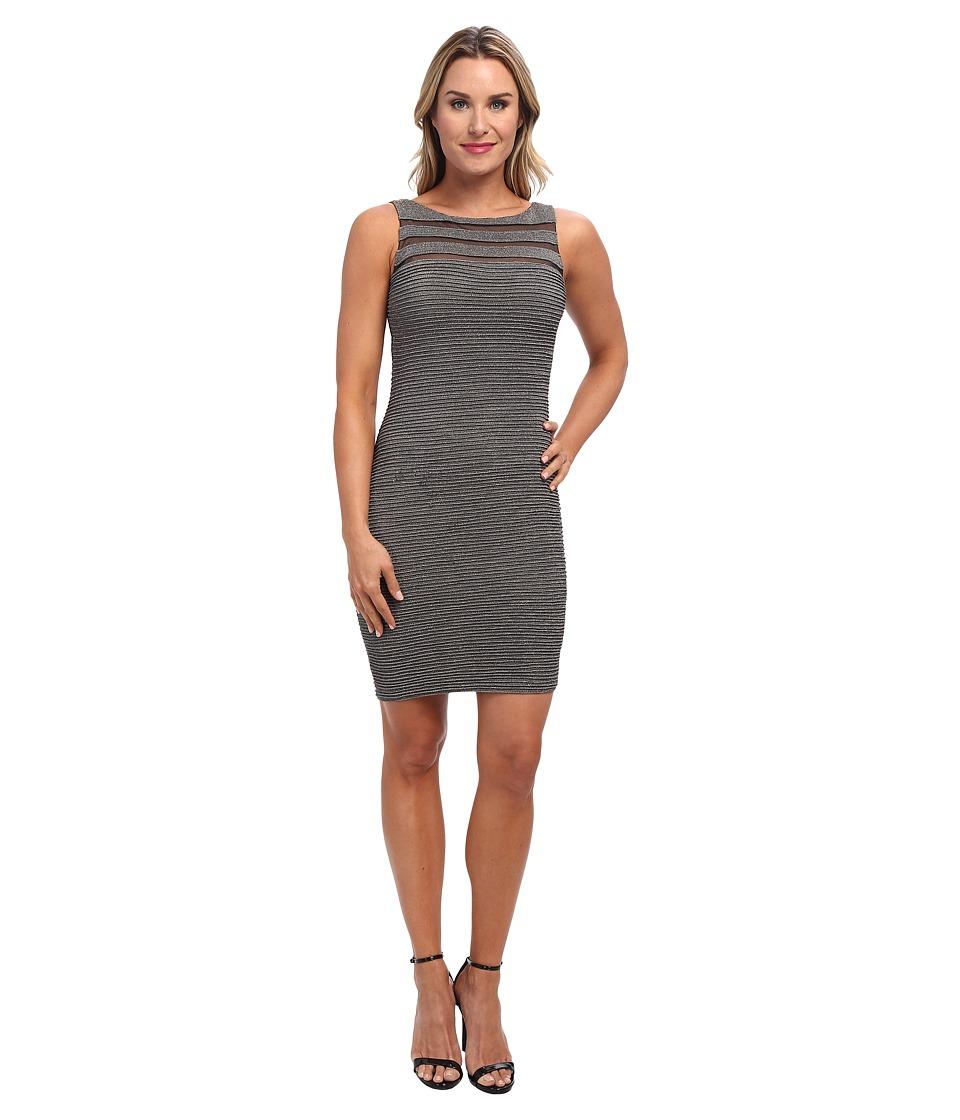 Calvin Klein Metallic Dress w/ Tucking (Gunmetal) Women