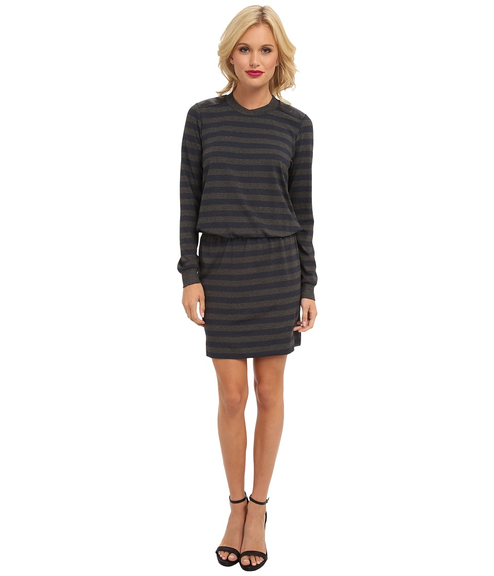 Nicole Miller - Leather Shoulder Stripe Dress (Blue Grey) Women's Dress