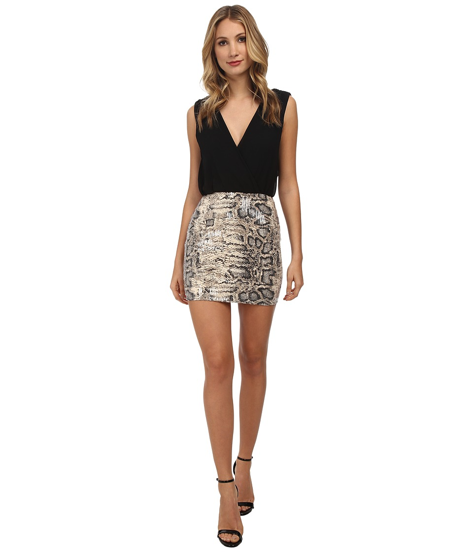 Gabriella Rocha - Snake Print Sequin Dress (Black) Women's Dress
