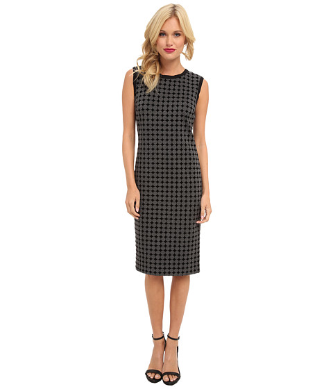 Nicole Miller - Polka Dot Short Sleeve Ponte Dress (Heather Grey) Women