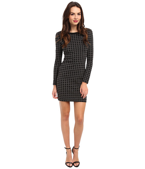 Nicole Miller - Polka Dot Long Sleeve Ponte Dress (Heather Grey) Women