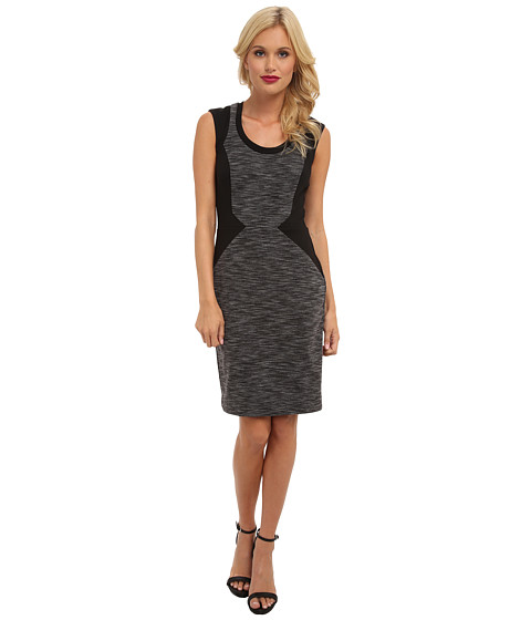 Nicole Miller - Striped Ponte Dress (Grey Multi) Women