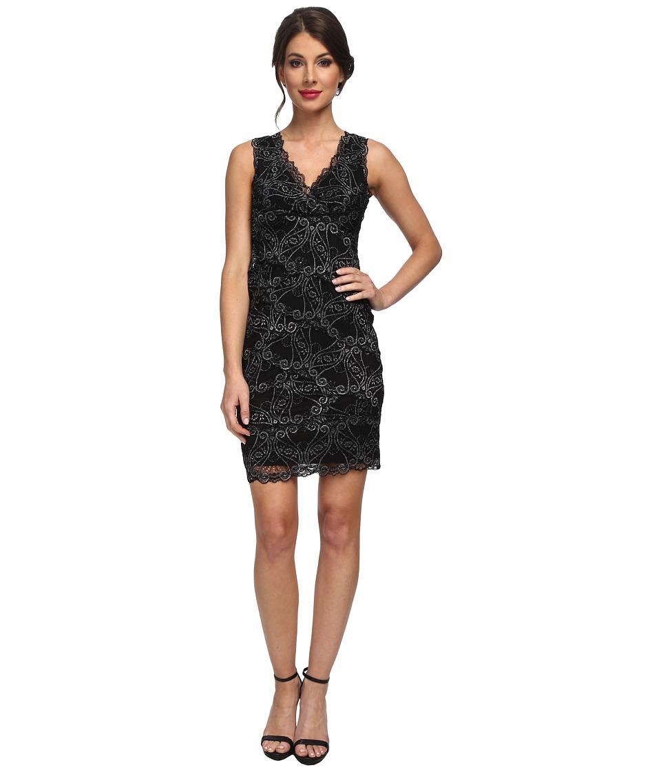 Nicole Miller - Stretch Swirly Lace Dress (Black/Silver) Women's Dress
