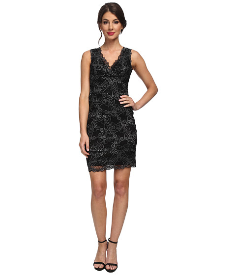 Nicole Miller - Stretch Swirly Lace Dress (Black/Silver) Women's Dress