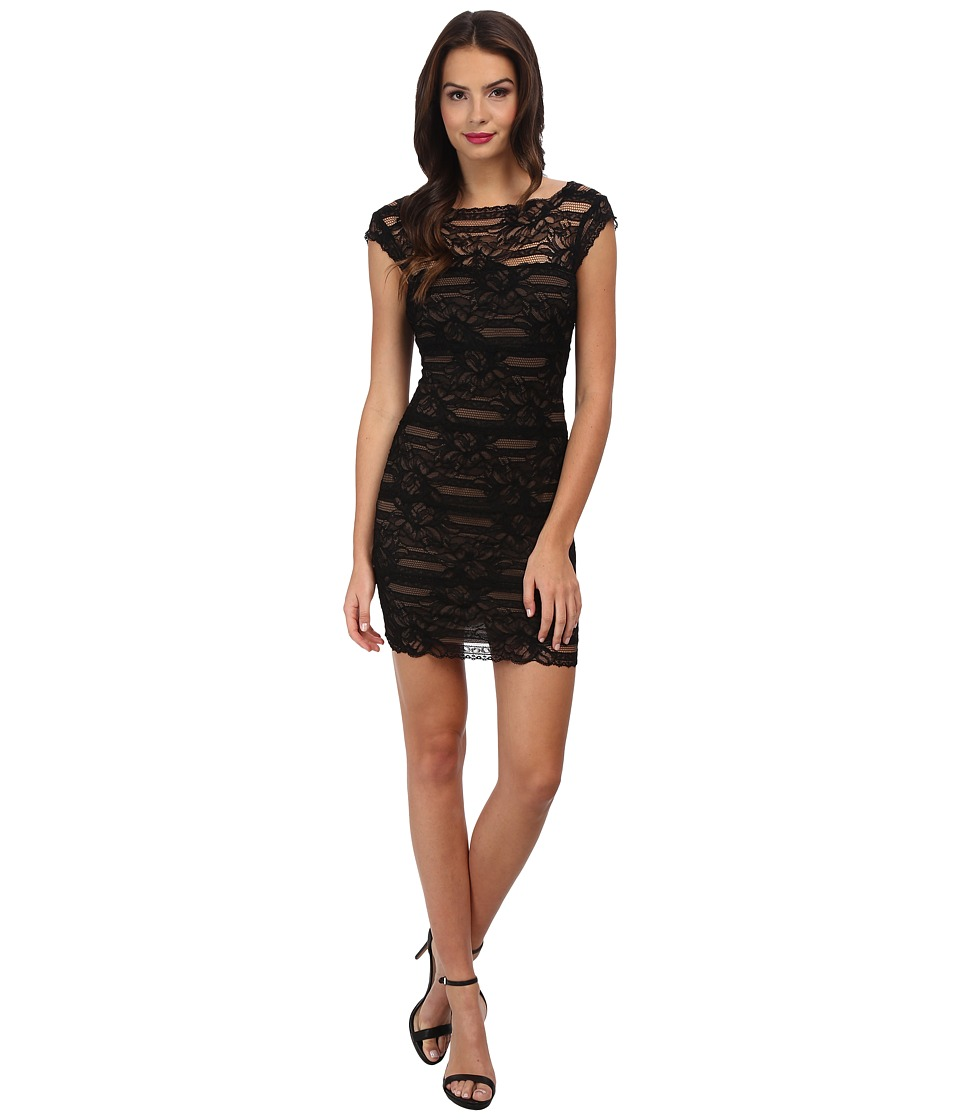 Nicole Miller - Stretch Multi Lace Dress (Black/Mocha) Women's Dress