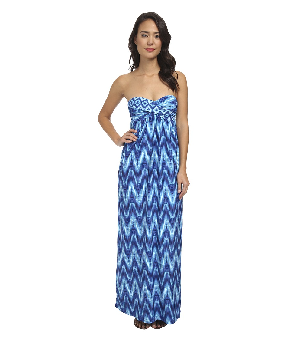 La Blanca - Desert Mirage Sweetheart Bandeau Maxi Cover-Up (Navy) Women's Swimwear