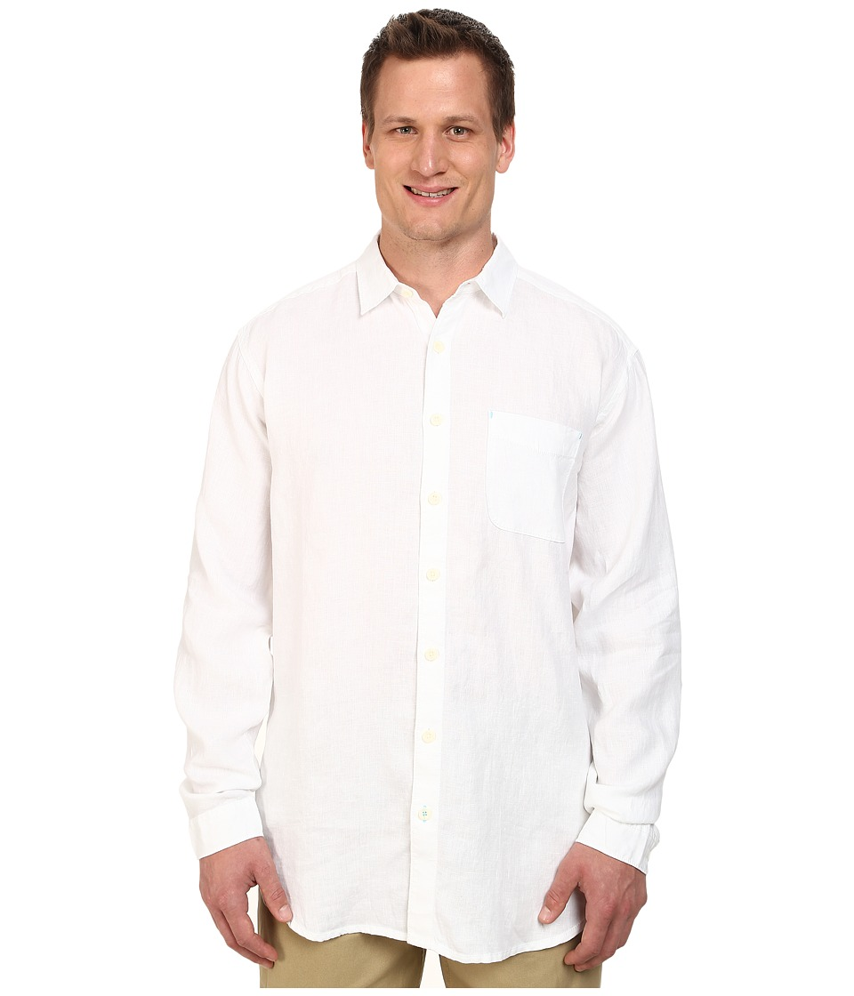 Tommy Bahama Big & Tall - Big Tall New L/S Seaglass Breezer (White) Men's Long Sleeve Button Up