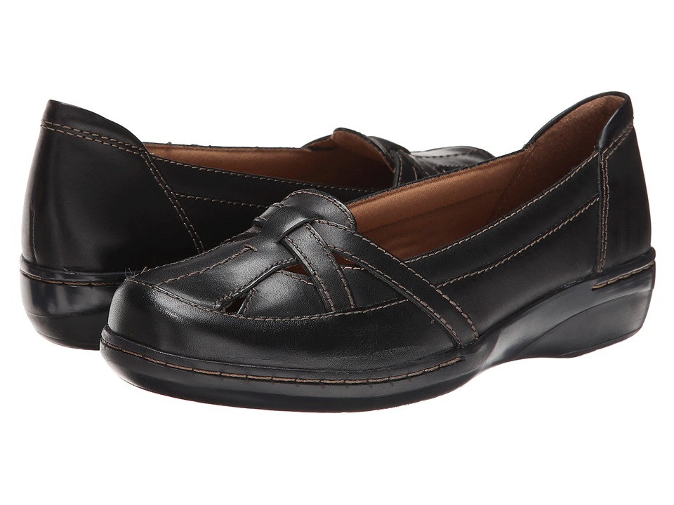 Clarks - Evianna Prim (Black Leather) Women's Flat Shoes