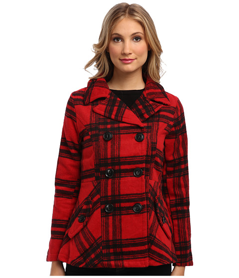 dollhouse - Classic Double-Breasted Notched Collar w/ Back Belt Detail Coat (Katy Plaid Red) Women