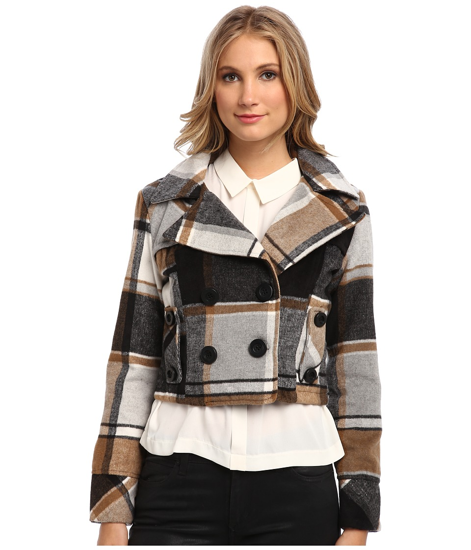 dollhouse - Double Breasted Notch Collar Crop Jacket (New Sander Plaid) Women's Coat