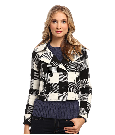dollhouse - Double Breasted Notch Collar Crop Jacket (Natalie Plaid) Women's Coat