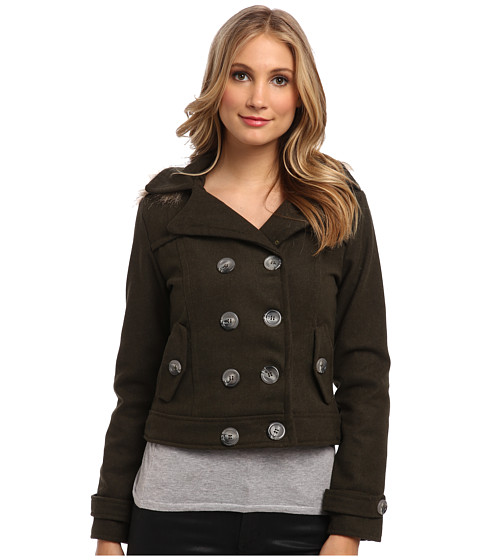 dollhouse - Double Breasted w/ Detached Faux Fur Trimmed Hood Coat (Military Green) Women's Coat