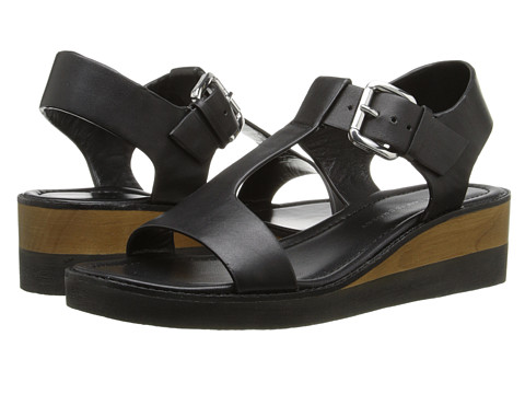 10 Crosby Derek Lam - Forsythe (Black Vacchetta) Women's Wedge Shoes