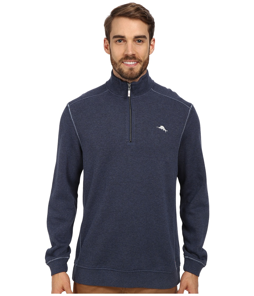 Tommy Bahama - Antigua Half Zip Sweatshirt (Great Sea Heather) Men
