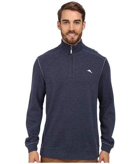 Tommy Bahama - Antigua Half Zip Sweatshirt (Great Sea Heather) Men